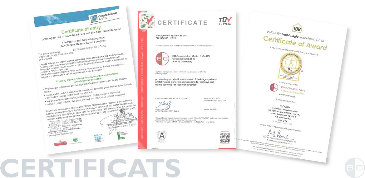 BG certificats, rapports d'essais et déclarations